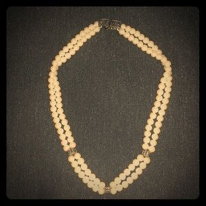 Double strand pearls with sterling 16 inches